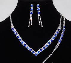 silver earrings bracelet set images Bridal 3pc silver royal blue flower rhinestones set necklace jpg