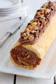 chocolate bamba roll cake peanut butter chocolate cream peanut