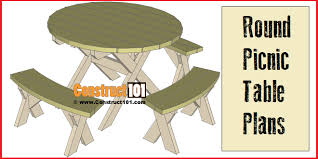 Free Hexagon Picnic Table Plans Pdf by Round Picnic Table Plans Step By Step Construct101