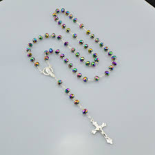 christian rosary catholic religious women silver plated christian rosary