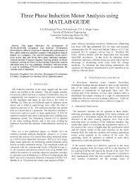 guide matlab three phase induction motor analysis using matlab guide pdf