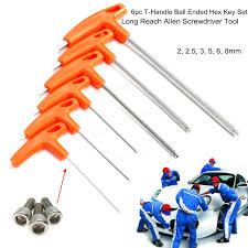 hex key set 6pcs t handle ball ended hex key set long reach allen screwdriver