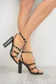 black patent studded ankle strap t bar block high heel sandals saxon