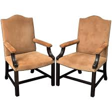 george smith armchair pair of english library armchairs with suede leather covers by