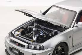 silver nissan autoart die cast model nissan r34 gt r z tune z tune silver 77352