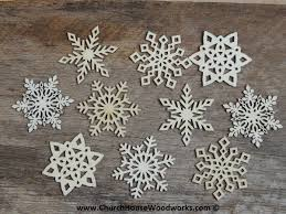 3 inch snowflake wood christmas ornaments 10 pack style mix