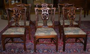 Set Of Six Solid Mahogany Chinese Chippendale Dining Room Chairs - Mahogany dining room sets