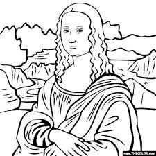 the most awesome and also attractive mona lisa coloring page with
