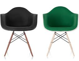 Modern Plastic Chairs Eames Upholstered Armchair With Dowel Base Hivemodern Com