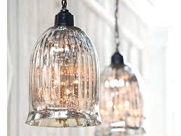 mercury glass pendant lighting with lights over kitchen island and