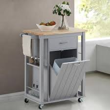 Baxton Studio Desk by Baxton Studio Yonkers Gray Kitchen Cart With Wood Top 28862 6121
