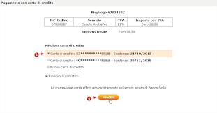 sella pagamenti pagamento con carta di credito successivo all ordine dal sito