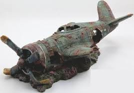 home decor fish tank aquarium decoration resin plane wreck airplane