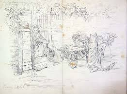 beatrix potter original drawing of fish monger battledore