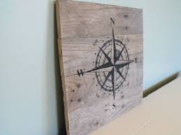 wood compass wall compass sign travel hiking outdoors cing pirate