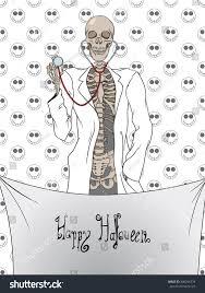 halloween gift card comic halloween skeleton gift card stock vector 490256779