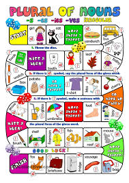 plural of nouns boardgame english for children pinterest