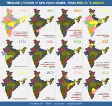 India Map Of States by Timeline Of Creations Of Indian States From 1951 Till Today