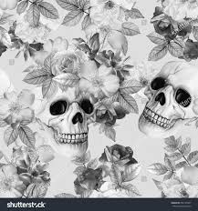 halloween background skulls watercolor handdrawn black white illustration monochrome stock