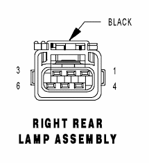 2005 dodge grand caravan tail light assembly what are the color codes for the wires going to the tail lights