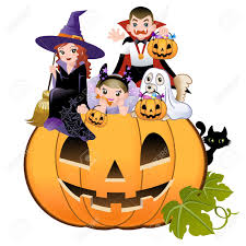 halloween white background halloween children wearing costume on huge jack o lantern white