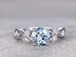 7mm round aquamarine engagement ring marquise diamond leaf style