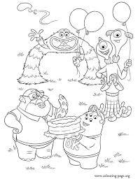 Monsters University Monsters Celebrating Coloring Page Coloring Pages Monsters