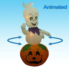 lighted halloween pumpkins amazon com jumbo 9 foot animated halloween inflatable ghost on