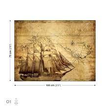 bilder xxl sepia schiff karte leinwand bilder xxl bild pp145ws ebay