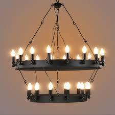 Rh Chandelier Industrial Vintage Round Shaped Pendant Light Black Hanging Wire