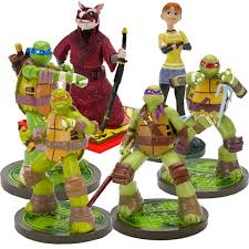 mutant turtles april splinter aquarium ornament set