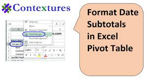 date format date formats in excel pivot table subtotals youtube