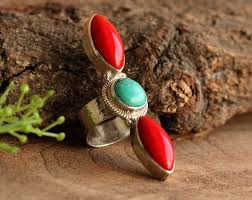red jewelry rings images Buy turquoise and red coral ring handmade statement jewelry rings jpg
