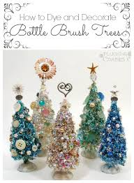 bottle brush trees with vintage buttons plucking daisies