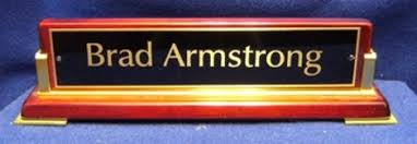rosewood finish desk name plates