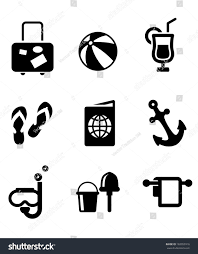 mixed drink clipart black and white set silhouette summer vacation travel icons stock vector 182053916