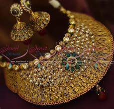 wedding jewelry choker necklace images Nl8748 broad antique grand choker necklace jhumka earrings fashion JPG