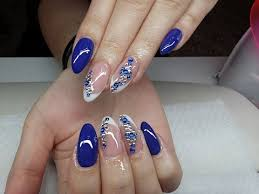 blue nails with french design gel nails youtube