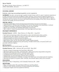 Cocktail Server Resume Server Resumes 9 Free Word Pdf Format Download Free U0026 Premium