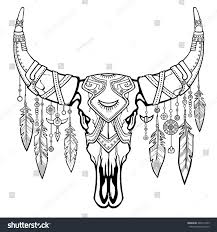 fantastic skull bull ethnic jewelry beads stock vector 449211055