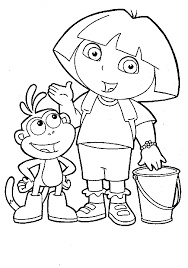 extraordinary dora coloring pages with dora coloring page