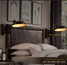 retractable wall sconce black iron wall lamp loft vintage