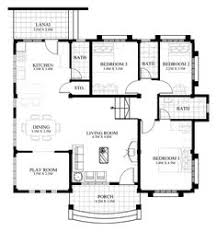Modern Single Storey House Plans Rey U2013 Four Bedroom One Storey With Roof Deck Shd 2015021 Pinoy