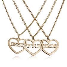 best friends heart necklace images 3 pcs set gold tone broken heart friendship bff pendant quot best jpg