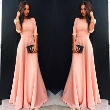 elegant latest design casual sheath evening gowns three quarter