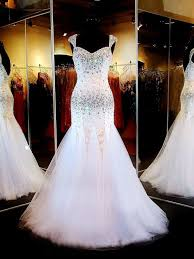 gorgeous mermaid sweetheart low back white tulle beaded prom dress