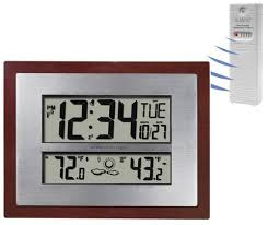 Patio Clocks Outdoor Thermometer Better Homes And Gardens Atomic Clock With Forecast Walmart Com