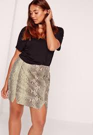Plus Size Urban Clothes Plus Size Snake Faux Leather Mini Skirt Khaki Missguided