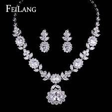 platinum plated necklace images Feilang platinum plated pure big aaa cubic zirconia diamond jpg