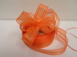 pull bow ribbon orange 2 or 25 metres 25mm fasbo pull bow ribbon roll craft